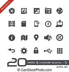 網, &, モビール, icons-5, //, 基本