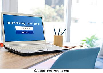 網, ラップトップ, 銀行業, デスクトップ, オンラインで
