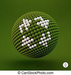 網, リサイクルしなさい, icon., ベクトル, 印。, デザイン, element., illustration., 3d