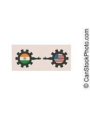 網, レイアウト, 旗, アメリカ, politic, インド, ヘッダー, 経済, 関係, ∥間に∥, template.