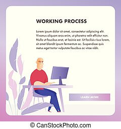 網, 仕事, プロセス, 特徴, ビジネスマン, 旗