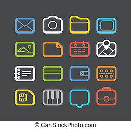 網, 別, セット, 円形にされる, アイコン, 色, corners., 要素, デザイン