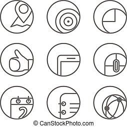 網, 別, セット, 円形にされる, アイコン, corners., ele, デザイン, ブラウザ