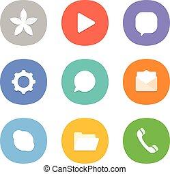 網, 別, smartphone, アイコン, 色, 媒体, 現代, icons., セット, pictograms., 社会