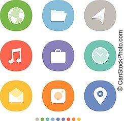 網, 別, smartphone, clipart, アイコン, 色, 媒体, set., 現代, icons., pictograms, 社会