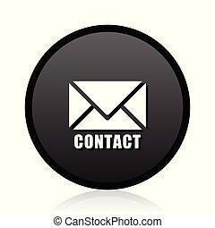 網, 印。, シンボル。, 連絡, 電子メール, ベクトル, 黒, 電子メール, icon., ラウンド