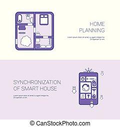 網, 同時性, 概念, スペース, 家, 計画, テンプレート, 家, コピー, 旗, 痛みなさい