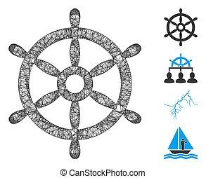 網, 噛み合いなさい, ボート, イラスト, ベクトル, 車輪, ステアリング
