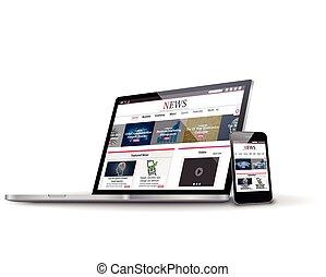 網, 多数, ビジネス, サイト, 装置, ベクトル, インターネット, ニュース