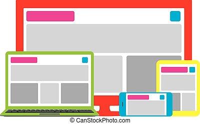 網, 多数, 十分に, サイト, プラットホーム, デザイン, 敏感, 横切って