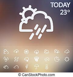 網, 天候, セット, アイコン