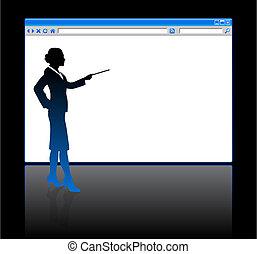 網, 女性ビジネス, 背景, 空白のページ, ブラウザ