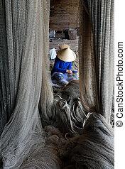 網, 女性釣り, 裁縫, ベトナム語