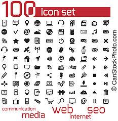 網, 媒体, ベクトル, 黒, 100, アイコン