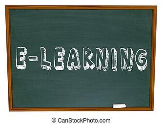 網, 学校, 基づかせている, インターネット, 黒板, オンラインで, e 勉強, 教育
