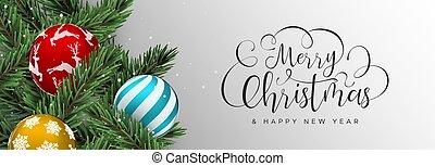 網, 安っぽい飾り, 色, 木, 松, 旗, クリスマス