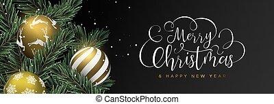 網, 安っぽい飾り, 金, 木, 松, 旗, クリスマス