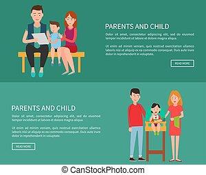 網, 家族, 母, 父, 親, 子供, ポスター