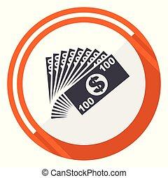 網, 平ら, お金, ボタン, 隔離された, ラウンド, バックグラウンド。, ベクトル, デザイン, インターネット, オレンジ, 白, icon.