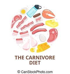網, 平ら, 肉食動物, 食事, ベクトル, テンプレート, タンパク質, 旗