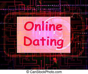 網, 愛, ショー, デートする, スクリーン, オンラインで, romancing