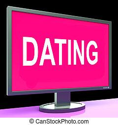 網, 愛, ロマンス語, コンピュータ, オンラインで, 日付, デートする, ショー
