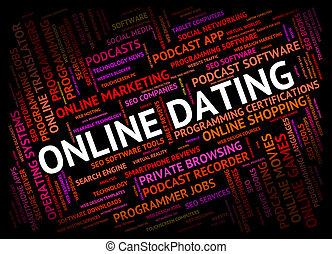 網, 手段, オンラインで, 日付, 世界, デートする, 広く