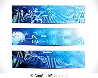 網, 抽象的, セット, デジタル, ヘッダー