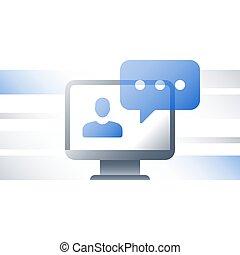 網, 指導, 概念, アドバイス, オンラインで, webinar, 教育, 遠い, 講義, インターネット, チュートリアル, 勉強