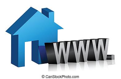 網, 接続, 家