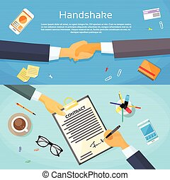 網, 握手, オフィス, ビジネス 文書, 手, 振動, の上, 契約, 署名, ペン, ペーパー, 机,...