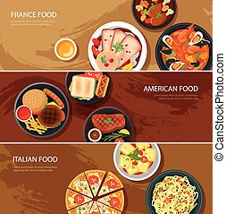網, 旗, フランス, 食物, アメリカ人, セット, イタリアの 食糧, 平ら, design.