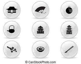 網, 日本, ボタン, アイコン