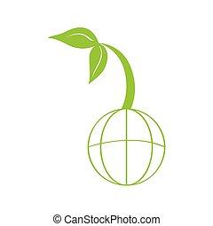 網, 植物, アイコン, 隔離された, 世界