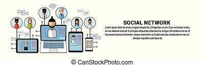 網, 概念, ネットワーキング, ネットワーク, ビジネス, スペース, 接続, 社会, コピー, 旗