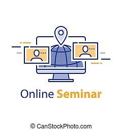 網, 概念, フリー, 仕事, webinar, コミュニケーション, セミナー, 遠い, ミーティング, インターネット, オンラインで学ぶ