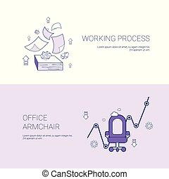 網, 概念, 労働者のオフィス, スペース, プロセス, 肘掛け椅子, テンプレート, コピー, 旗
