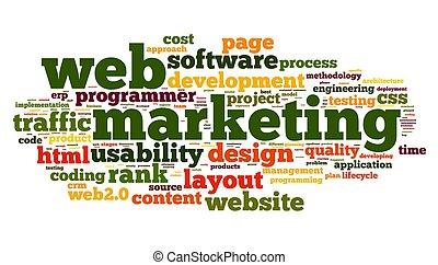 網, 概念, 単語, 雲, マーケティング