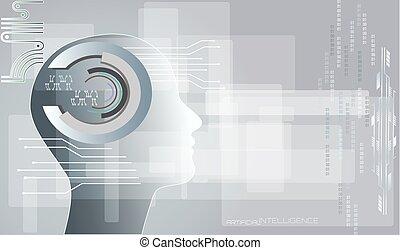 網, 概念, 抽象的, intelligence., 人工, バックグラウンド。, 事実上, 技術