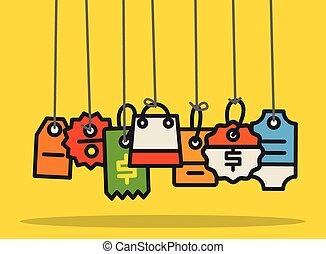 網, 概念, 買い物, 平ら, collection., 現代, 商業, デザイン, タグ