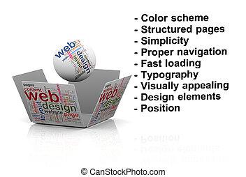 網, 概念, 3d, 効果的である, 設計
