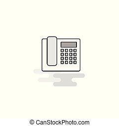 網, 灰色, 電話, 平ら, ベクトル, icon., 線, 満たされた, アイコン
