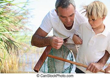 網, 父, 釣り, 息子