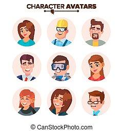 網, 特徴, 人々, default, avatars, コレクション, 隔離された, avatar., イラスト, vector., 漫画