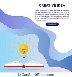 網, 知識, ライト, 上に, ideas., 本, 出生, 電球, シンボル, design.