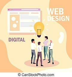 網, 研究, 計画, ビジネスマン, ミーティング, マーケティング, デザイン, 世界的である
