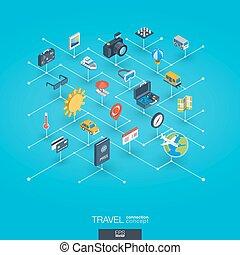網, 等大, ネットワーク, 旅行, icons., インテグレイテド, デジタル, concept., 3d