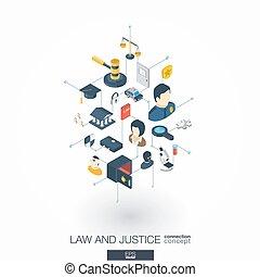 網, 等大, ネットワーク, 正義, concept., icons., デジタル, 法律, インテグレイテド, 3d