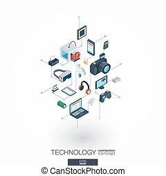 網, 等大, ネットワーク, concept., icons., デジタルの技術, インテグレイテド, 3d