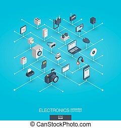網, 等大, ネットワーク, concept., icons., デジタル, エレクトロニクス, インテグレイテド, 3d